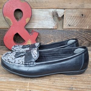 Hotter Black Leather Cheetah Print Slip-On Shoes
